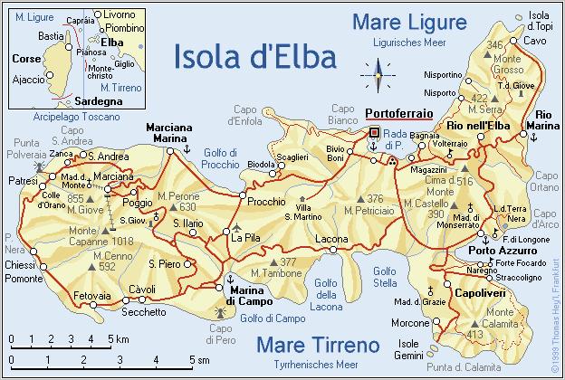 Elba Karte.Großbild Eine Karte Von Elba Wichtige Straßen Und Sehenswürdigkeiten
